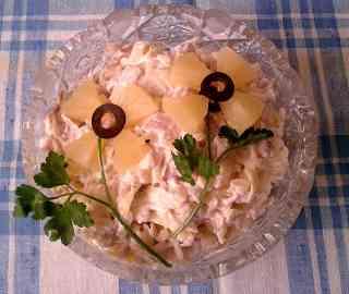 Рецепт салата из курицы с ананасом