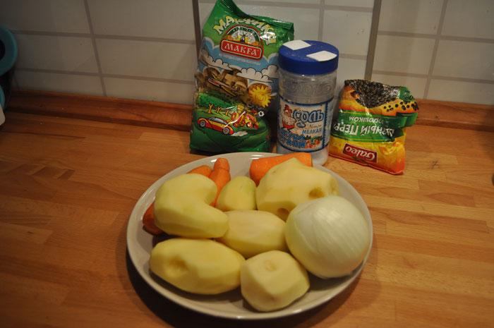 Ингредиенты для супа из куриной грудки