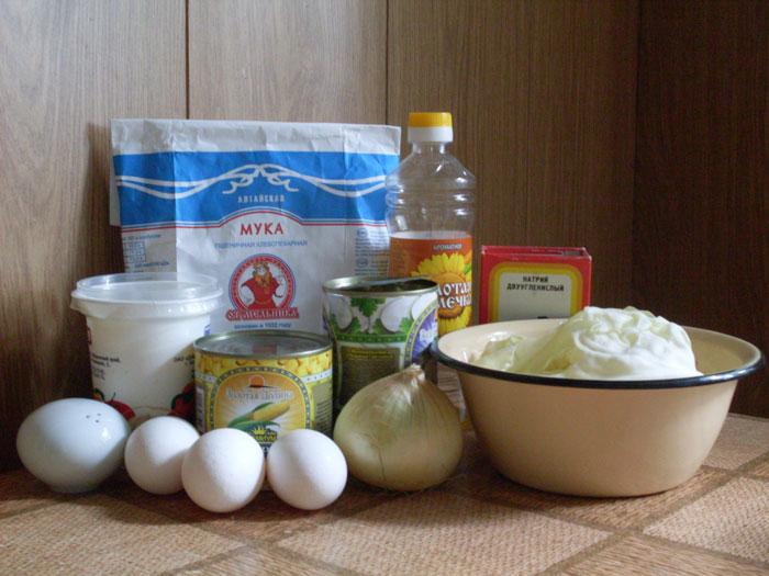 Продукты для шарлотки с капустой