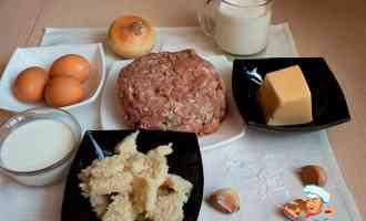 Ингредиенты для фрикаделек в сливочном соусе